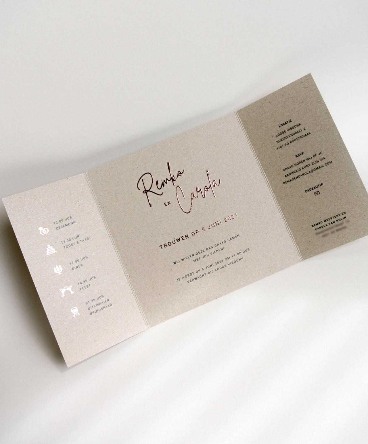 Trouwkaart Remko & Carola trouwkaart Brons zilver en goud