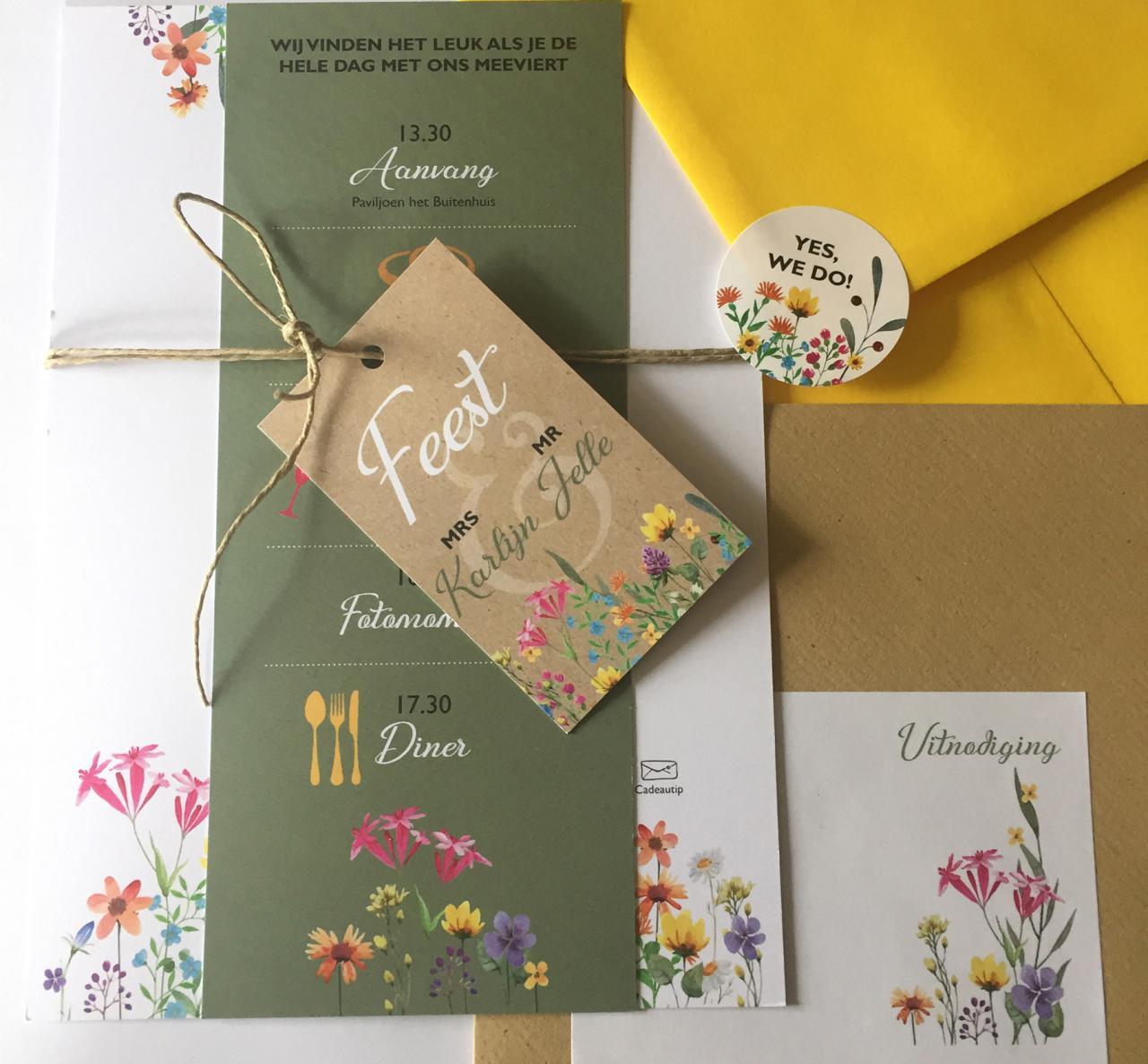 Trouwkaart veldbloemen buitenfeest festival trouwkaart Botanisch