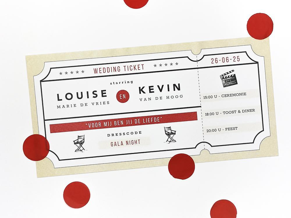 Trouwkaart bioscoop ticket trouwkaart Origineel Retro Romantisch Typografisch