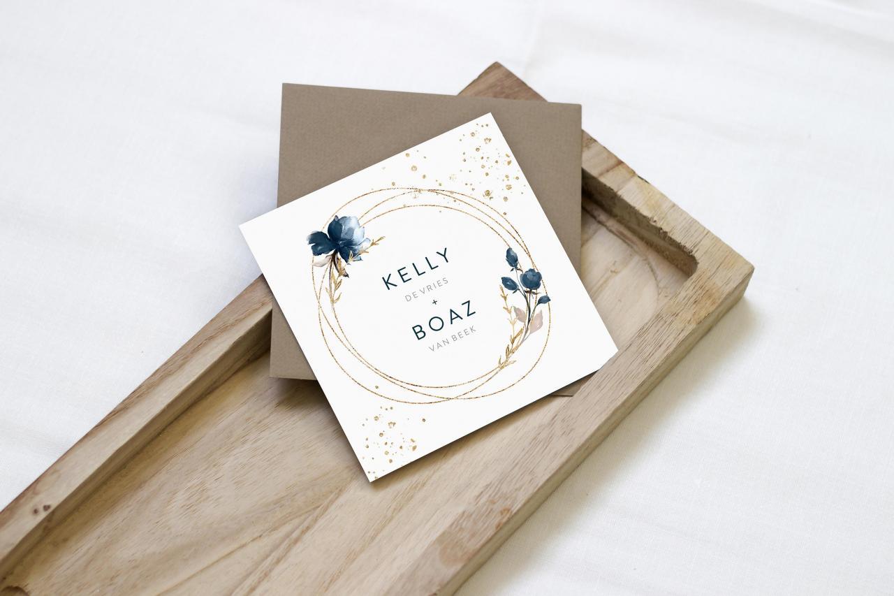 Trouwkaart met gouden cirkel trouwkaart Klassiek Stijlvol Aquarel en Watercolor Luxe