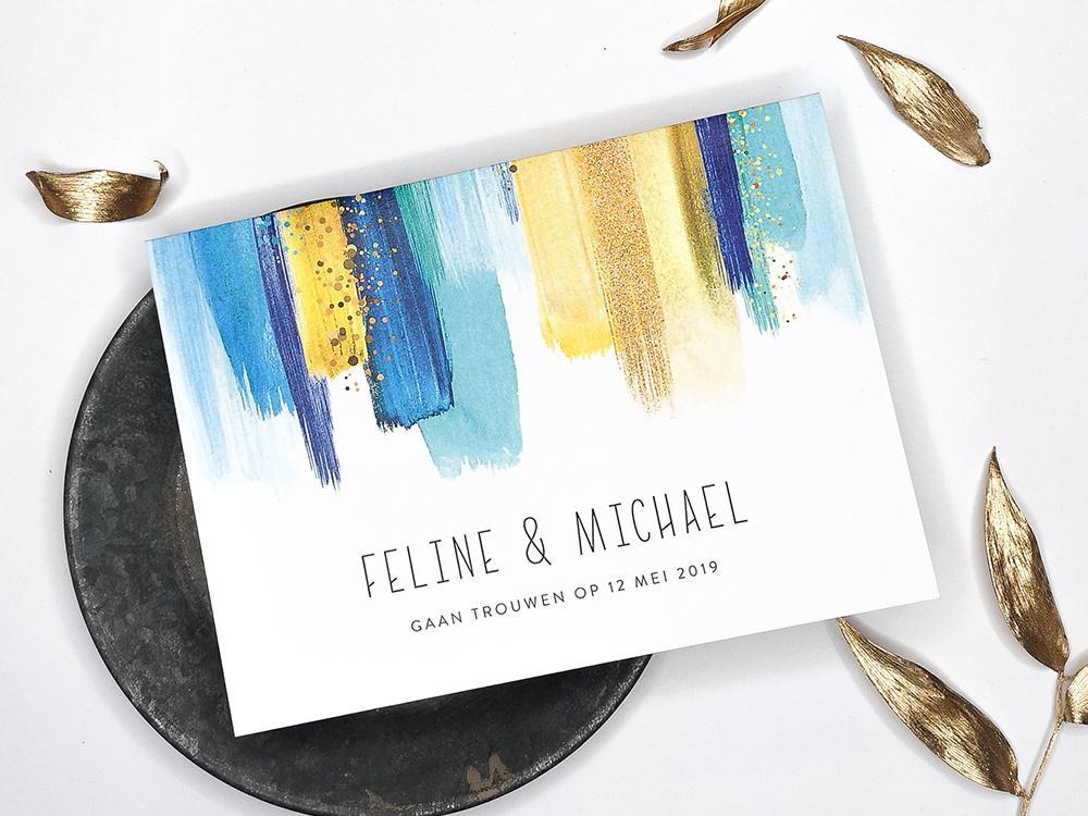 Moderne trouwkaart met blauwe verf trouwkaart Aquarel en Watercolor Romantisch Strak Origineel