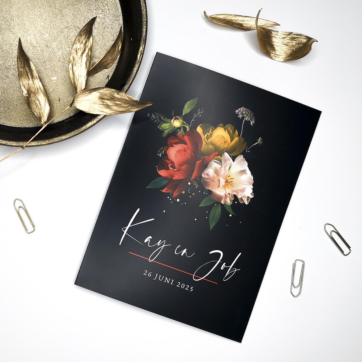 Zwarte trouwkaart Hollandse meesters met kleurrijk boeket trouwkaart Romantisch