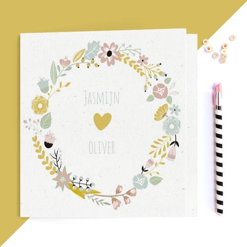 trouwkaart met bloemen trouwkaart Romantisch Modern