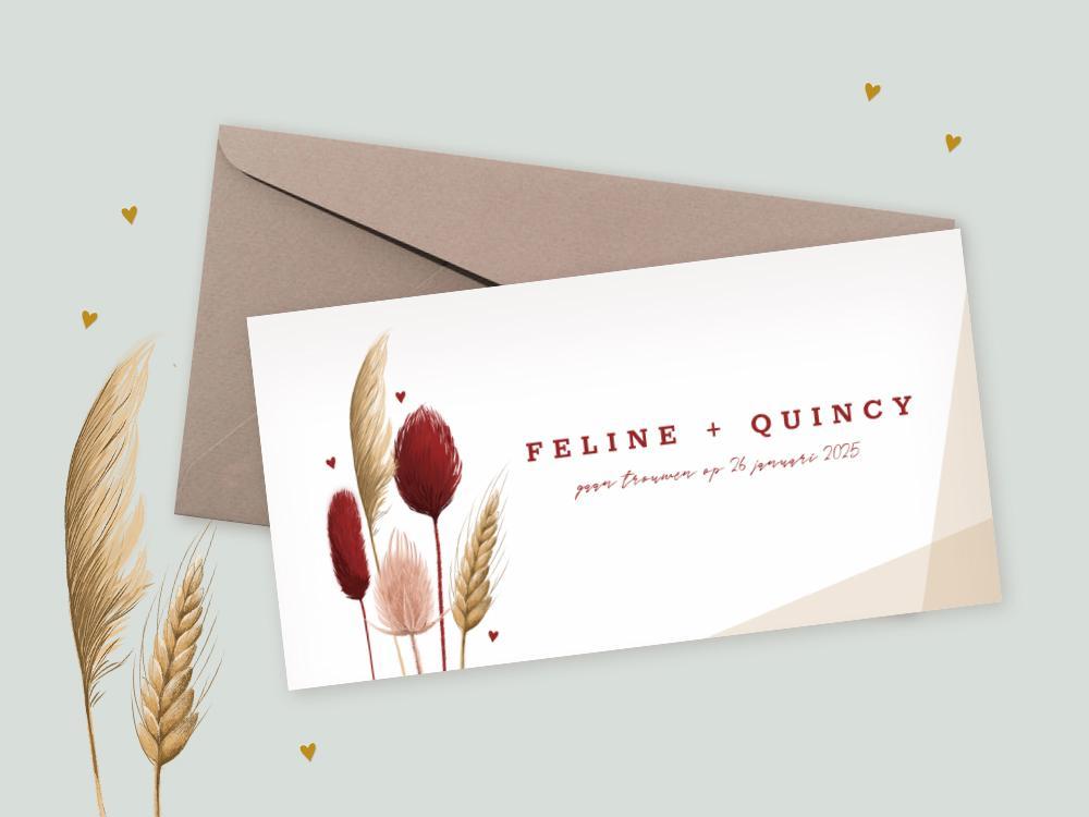 Trouwkaart met geometrisch vlak en droogbloemen trouwkaart Klassiek Botanisch Illustratie Romantisch