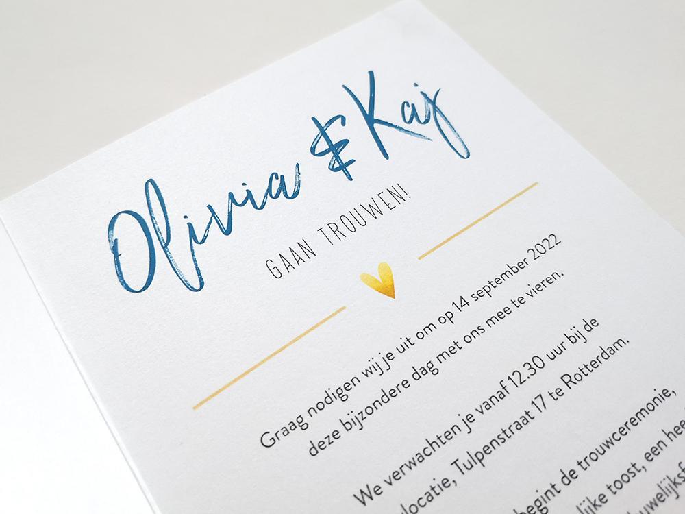 Donkerblauwe trouwkaart met goud look trouwkaart Aquarel en Watercolor Luxe Zilver en goud Typografisch