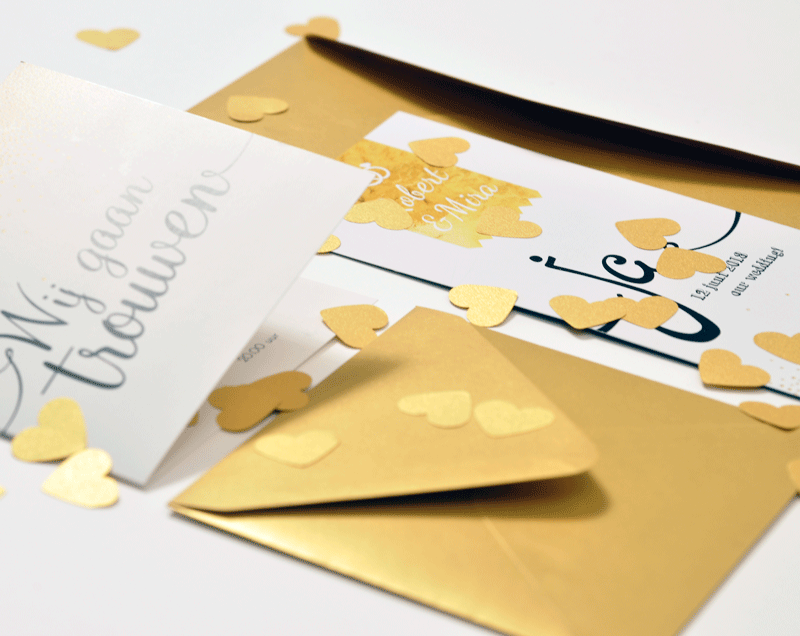 Trouwkaart goud - glitter trouwkaart Modern Origineel