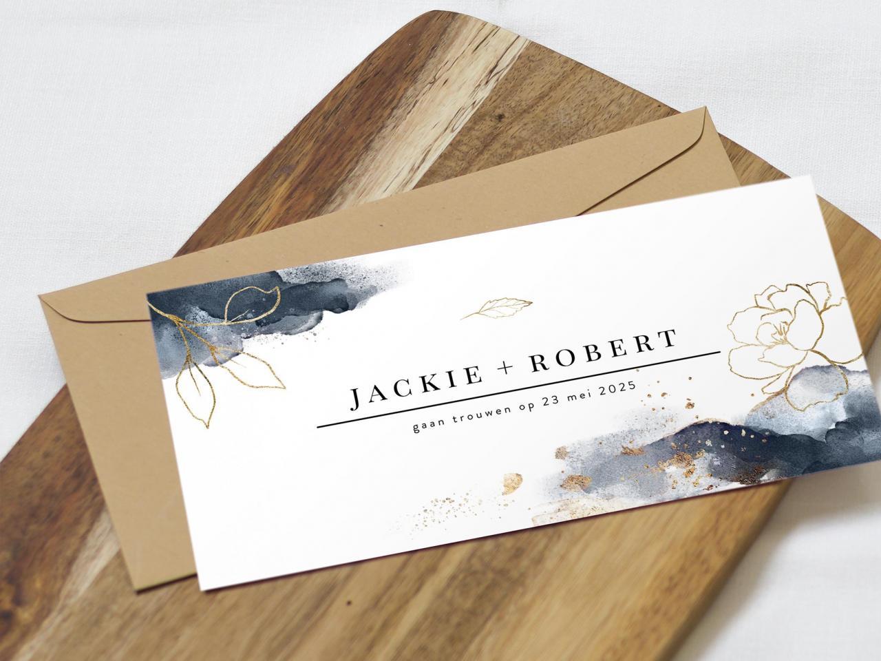 Trouwkaart met gouden bloemen en waterverf trouwkaart Stijlvol Aquarel en Watercolor Romantisch Botanisch