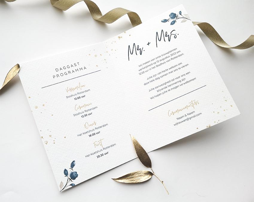 Trouwkaart met gouden ovaal trouwkaart Klassiek Romantisch