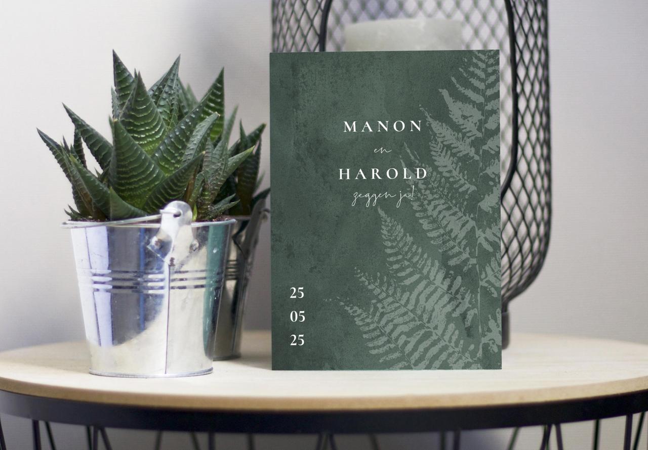 Botanische trouwkaart met varen trouwkaart Botanisch Gevouwen Stoer Aquarel en Watercolor