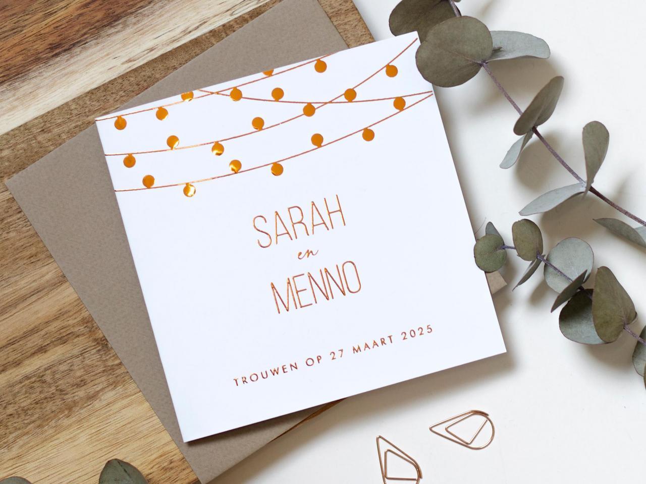 Koperfolie trouwkaart met lampjes trouwkaart Gevouwen Modern Brons zilver en goud Origineel