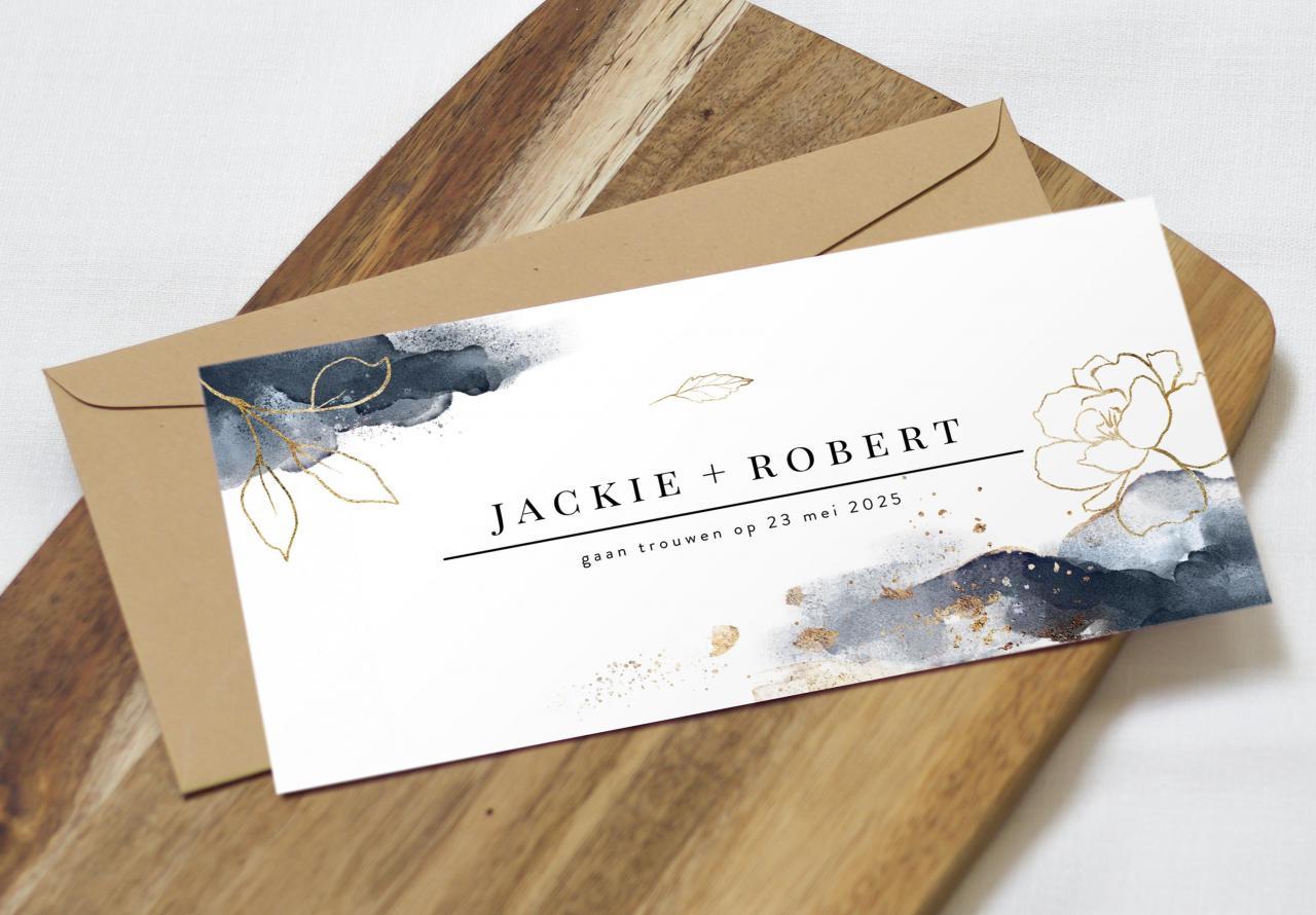 Klassieke trouwkaart met gouden bloemen trouwkaart Klassiek Brons zilver en goud Aquarel en Watercolor Gevouwen