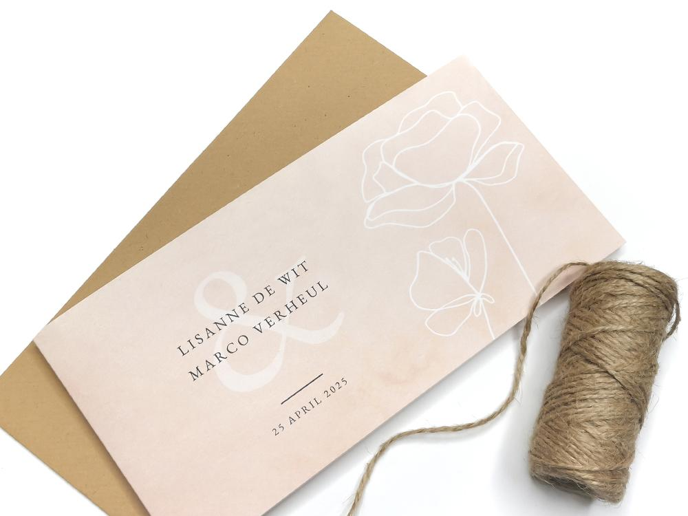 Roze trouwkaart met lijntekening bloemen trouwkaart Stijlvol Botanisch Aquarel en Watercolor Klassiek