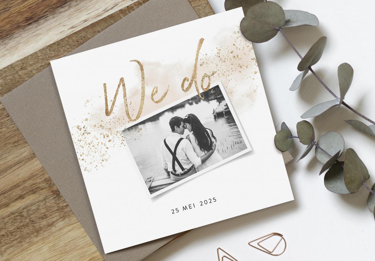 Romantische trouwkaart met foto trouwkaart Romantisch Foto Aquarel en Watercolor Gevouwen