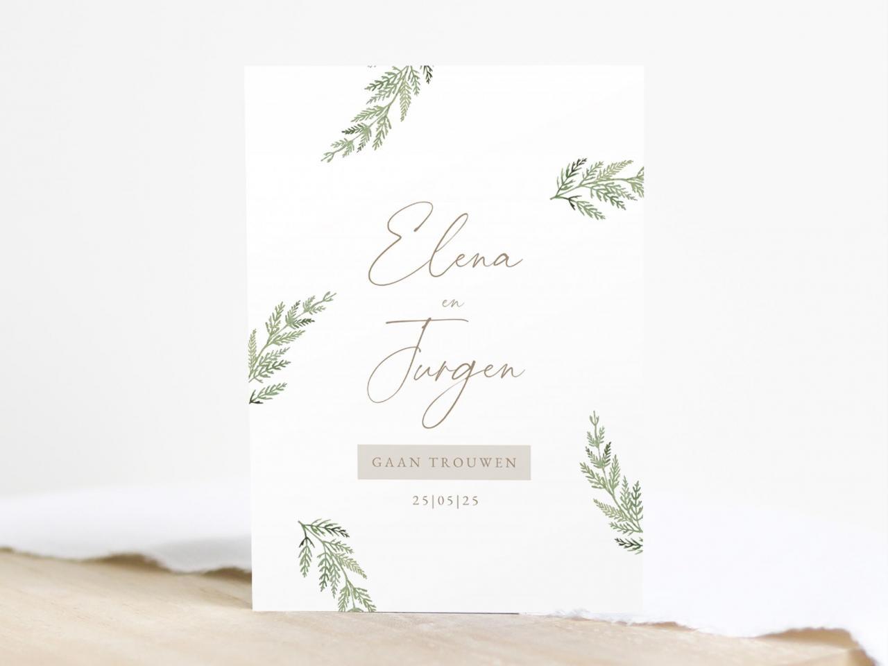 Trouwkaart met groene takjes en typografie trouwkaart Romantisch Aquarel en Watercolor Botanisch Typografisch