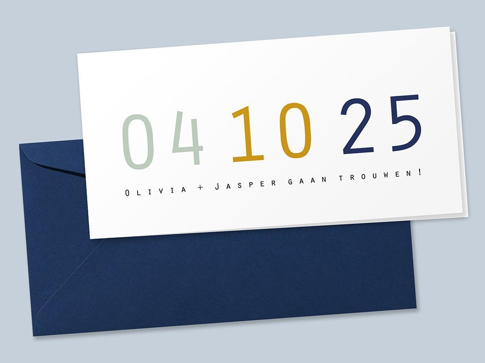 Strakke trouwkaart met grote datum in trendy kleuren trouwkaart Typografisch Strak Stoer Retro