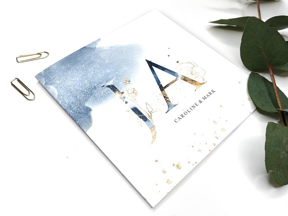 Trouwkaart met waterverf en JA trouwkaart Aquarel en Watercolor Klassiek Romantisch Brons zilver en goud
