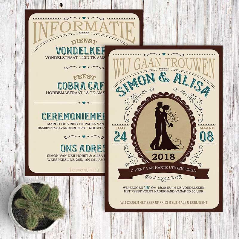 Western Trouwkaart trouwkaart Retro Origineel