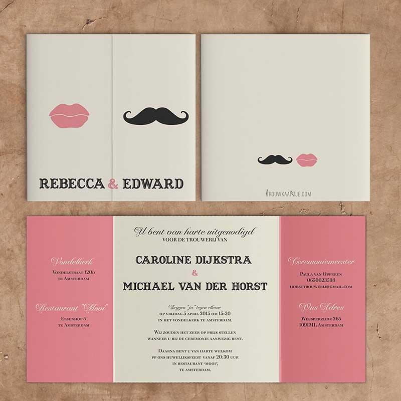 Trouwkaart Snor & Lippen trouwkaart Retro Romantisch