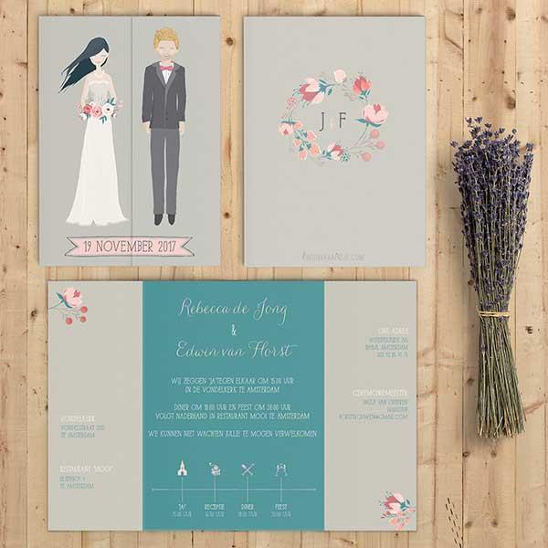 Trouwkaart Bruidspaar trouwkaart Origineel