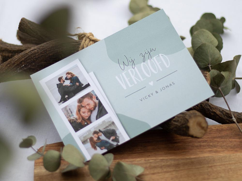 Abstracte verlovingskaart met fotostrip trouwkaart Save the Date Stoer Origineel Modern
