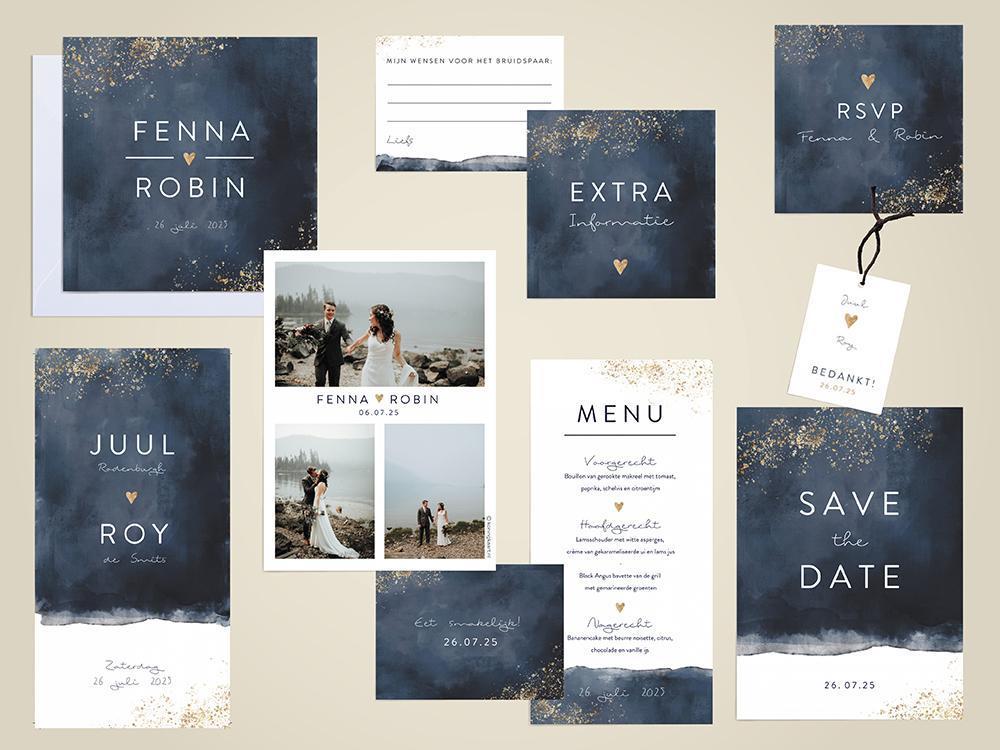 Trouwhuisstijl donkerblauw met spetters trouwkaart Stijlvol Aquarel en Watercolor Foto Origineel