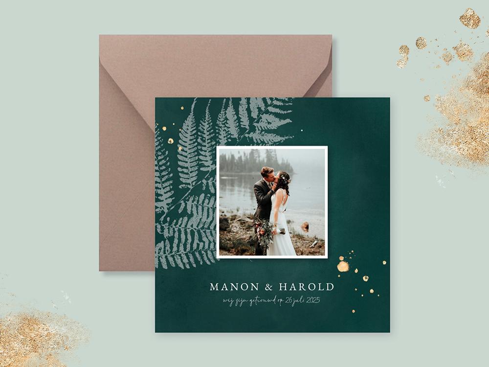 Groene wij zijn getrouwd kaart met varen trouwkaart Botanisch Stijlvol Aquarel en Watercolor Brons zilver en goud